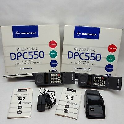 2 Vintage Motorola DPC550 Cell Phones Micro TAC with boxes, manuals, charger