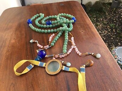 Superb Chinese Late Qing Peking Glass Hardstone Chaozhu Mandarin Court Necklace