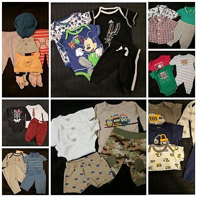 35 Lot Baby Boy's Clothes Outfits Shirts Pants Bodysuits Size 0-3 Months