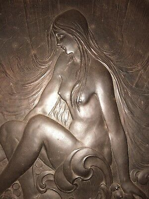 RARE HUGE Antique ART NOUVEAU BRONZE WALL Naked Lady PLAQUE Alphonse Mucha ?