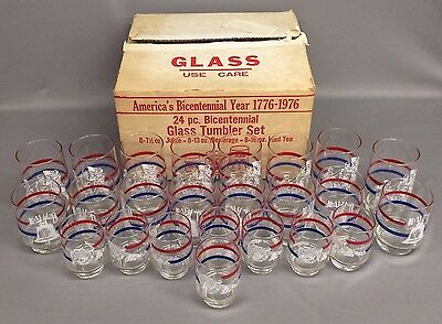 Vintage America's Bicentennial Year 1776-1976 24 pc. Glass Tumbler Set NOS