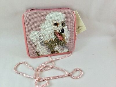 White poodle  needlepoint coin purse