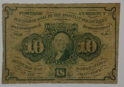 1862, 10c, POSTAL CURRENCY 1ST ISSUE - George Washington, FAIR CONDITION