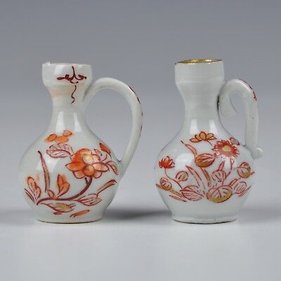 A Rare Pair Japanese Porcelain 18Th Century Iron And Red Gilt Miniature Jugs