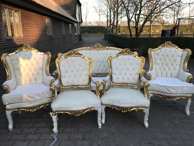 Antique French Louis Xvi Living Room Set: Sofa/settee With 4 Chairs