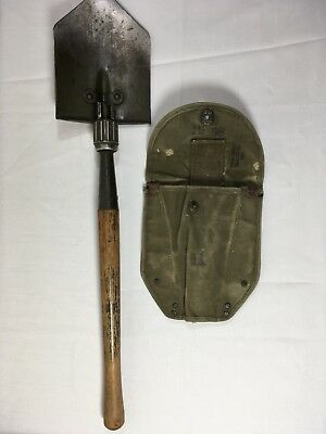 VINTAGE WWII US Army 1944 Wood (Mfr) Entrenching Tool Folding Shovel w/ Cover
