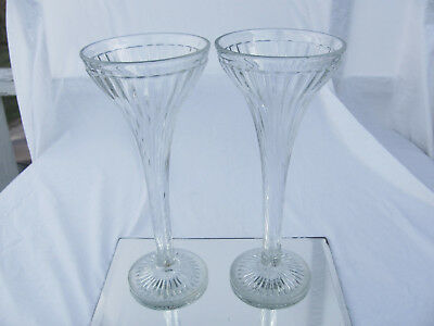 "Vintage Pair Jewelry Store Show Case Glass Pillars Shelf Supports 12"" Tall"