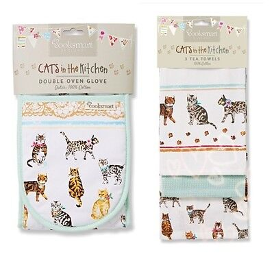 Cooksmart Cats on Parade Double Oven Glove , Pack of 3 Tea Towels Animals Home