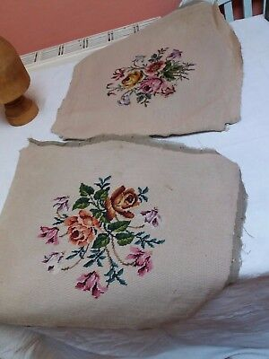 Vintage Tapestries Woolwork Needlepoint Floral Two Seat Cushion