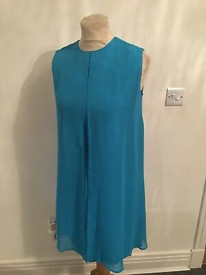 Vintage 60's Blue Chiffon Overlay Evening Mini Mod Dress Uk 10-12 S/m