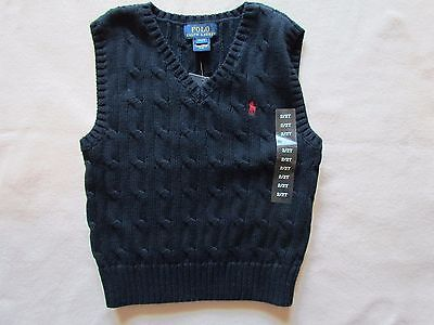 NEW Polo Ralph Lauren Boys Cable Knit Hunter Navy Sweater Vest Sz. 2/2T