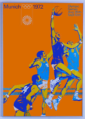 Original Olympia Plakat - MÜNCHEN 1972 - Basketball A1 Olympische Poster TOP