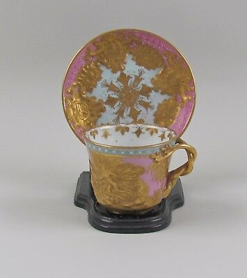 Stunning Royal Vienna Gold Encrusted Pink Cup&Saucer Raised Chariot Scene