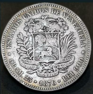 "Venezuela, 1 Venezolano, 5 bolivares 1876  Coin, ""Difficult in this condition"""