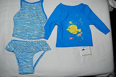 M&S 3 Piece Tankini Set &  Long Sleeved Top UPF 40+ Blue Mix Age 6-9 Months BNWT