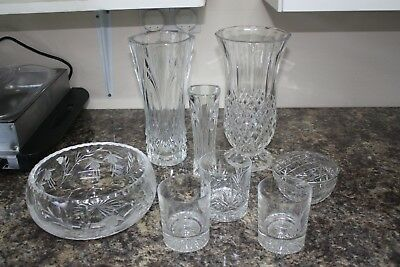 Job Lot Mixed Cut Glass Bowls, Vases And Whiskey Tumblers.