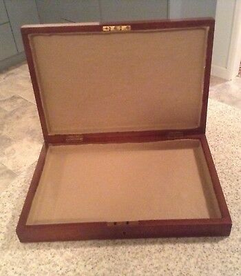 Vintage Wooden Box Teak? converted for Jewellery, Medals, Coins etc. Felt Lined