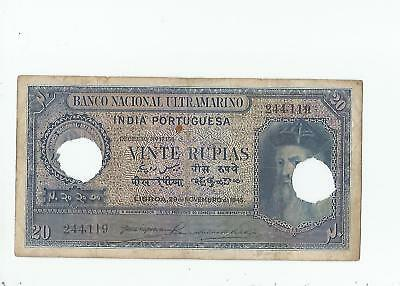 Portugueese  India  20  Rupias  1945  Punch  Cancelled