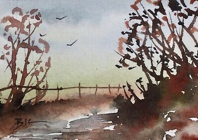 ACEO Original Art Watercolour Painting by Bill Lupton  -  Misty Beyond