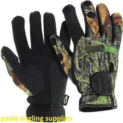 NGT Neoprene Fishing Gloves in Camo Patten Folding Fingers Shooting Hunting