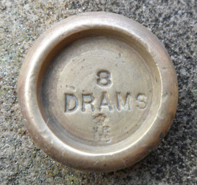 Antique Victorian Brass Weight - 8 DRAMS Doncaster?