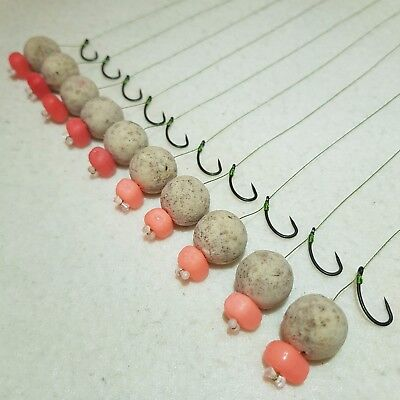10 X KD HAIR RIGS LOADED WITH 15mm TIGER NUT POPUPS CARP DYNAMITE BAITS
