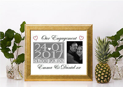 our engagement personalised photo print gift A4 couple fiance love valentines
