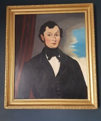 ☆ Large Antique 19th Century Oil Portrait Painting of a Gentleman ☆