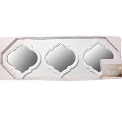 Set of 3 White Wall Hung Mirrors Art Deco, Moroccan Style Living Room, Wall Art