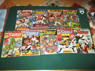 Doc Savage lot 9 Bronze Age, issues 2-8 good,Giant Size #1and issue#1 high Grade
