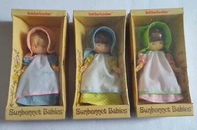 "3 Vintage Sunbonnet Babies Knickerbocker dolls 1975 Mandy Molly May 6"" New Toy"