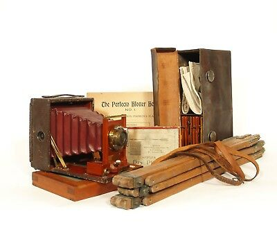 Exceptional 1895 Rochester Optical 4x5 Antique Plate Camera Outfit w/Wood Tripod