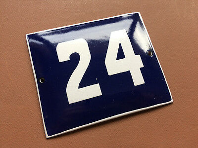 ANTIQUE VINTAGE ENAMEL SIGN HOUSE NUMBER 24 BLUE DOOR GATE STREET SIGN 1950's