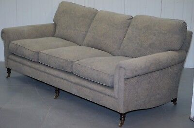 Rrp £9659 George Smith Signature Full Scroll Arm Loose Back Feather Filled Sofa