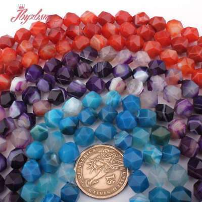 """10mm Round Faceted Mixed Natural Stone For Necklace Bracelet Jewelry Making 15"""""""