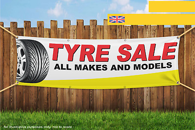 Tyre Sale All Makes And Sizes Heavy Duty PVC Banner Sign 2280