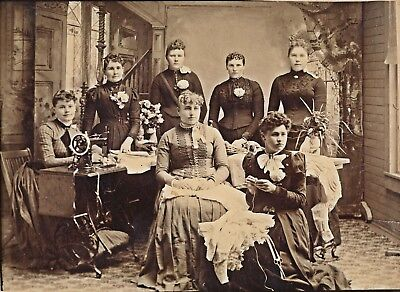c1893 Sewing Bee, Christine Peterson at Sewing Machine, 6 Others Photograph