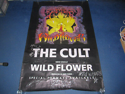 The Cult - Wild Flower - Subway Promo Poster Signed By Band (Sisters Of Mercy)