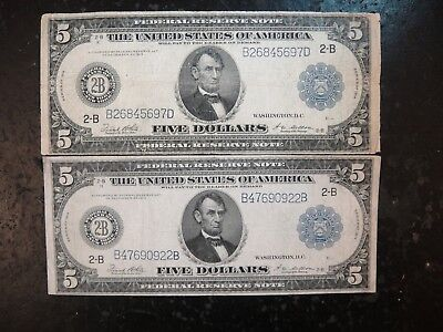 Pair (2) US 1914 Large $5 Federal Reserve Notes. Good to VG & VG - Fine.