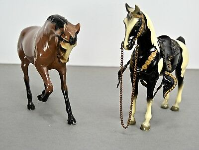Hartland Horses - Lot of Two, One with Saddle & Reins, One Marked