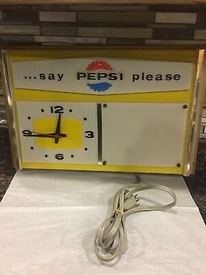 "Embosograf 1960s ""say PEPSI please"" 22x14x2 ELECTRIC CLOCK SIGN WORKS!"