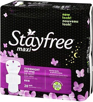 Stayfree Maxi Pads for Women with Wings, Overnight - 28 Count