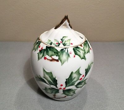 Vtg Lefton Holly Berry Garland Hand Painted Jam Jelly Jar Pot Server Lid NE 2039