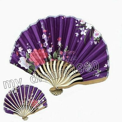 Vintage Chinese Japanese Hand Held Flower Silk Bamboo Folding Wedding Favor Fan