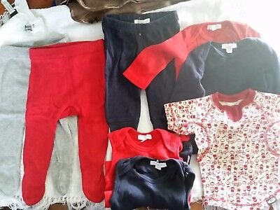 000 Bundle - Purebaby 100% Organic Cotton - Red, Grey Navy (one WO brand shirt)