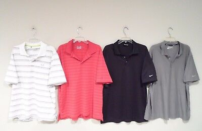 Lot of 4 Nike & Under Armour Mens Polo Shirts Size XL Dri-Fit Golf S/S Black Red