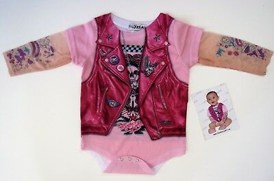 FAUX REAL BABY 1 piece PINK BIKER GIRL MOTORCYCLE TATTOO SIZE 18 MON. NWT
