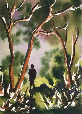 ACEO Original Art Watercolour Painting by Bill Lupton - Alone Again