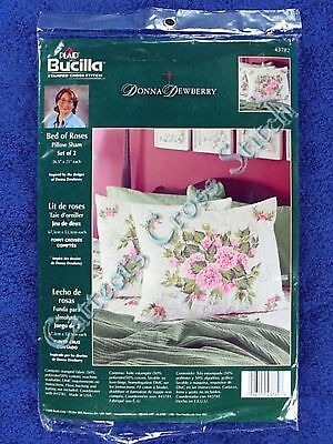"Stamped Cross Stitch Bed of Roses Pillow Shams Donna Dewberry Set of 2 26"" x 21"""