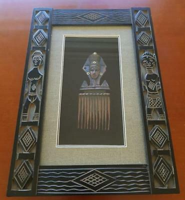 African Hair Comb Artifact in Carved Wooden Boxed Frame